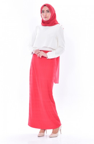 Lacy Pencil Skirt 3098-03 Red 3098-03