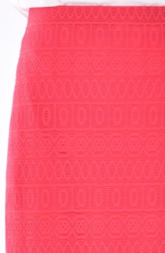 Jupe Crayon a Dentelle 3098-03 Rouge 3098-03