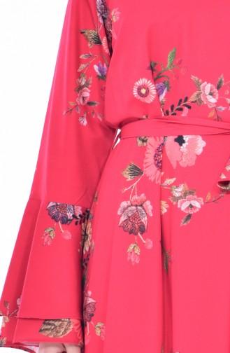 Robe a Motifs et Ceinture 3034-01 Rouge 3034-01