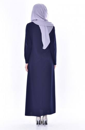 Robe Bordée de Perles 0174-01 Bleu Marine 0174-01