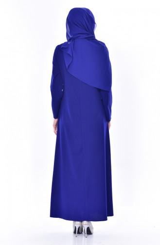 Robe Bordée de Perles 0174-07 Bleu Roi 0174-07