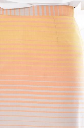 تنورة قصة مستقيمة بتصميم مُخطط  3094-03 لون أصفر وبيج 3094-03