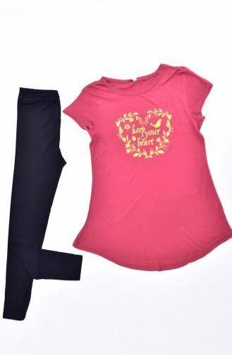 Printed Tights Pajamas Suit 4142-01 Claret Red Black 4142-01