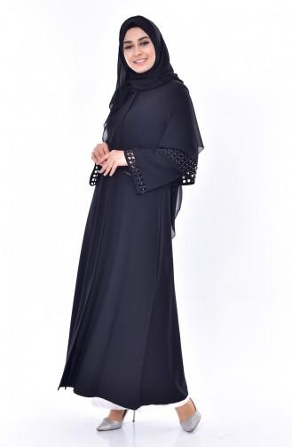 SUKRAN Laser Cut Stone Printed Abaya 35840-02 Black 35840-02