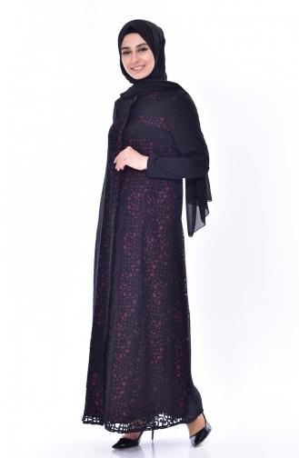 Abaya a Boutons Cachés 5067-03 Noir Plum 5067-03