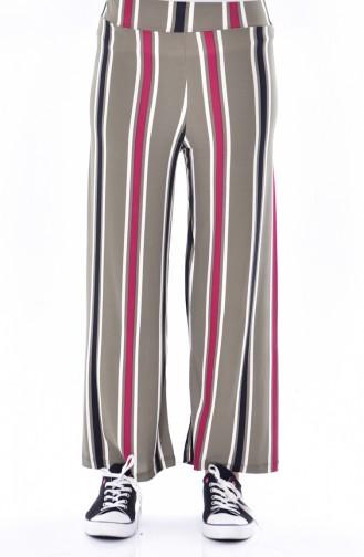 Çizgili Bol Paça Pantolon 4064-02 Siyah