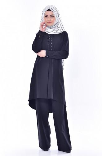 Asymmetric Tunic Pants Double Suit 2315-02 Black 2315-02