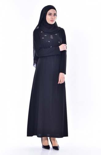 Robe Bordée de Perles 0174-04 Noir 0174-04