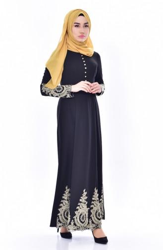 Kleid mit Spitzen 4462-01 Schwarz 4462-01