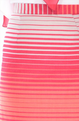 Jupe Crayon a Rayure 3094-04 Orange Beige 3094-04