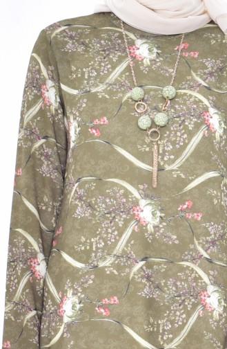 Gemusterte Tunika mit Halskette 2325-06 Grün 2325-06