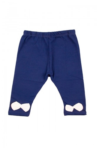 Baby Bow Detailed Capri Pants SFM072LAC-01 Navy Blue 072LAC-01