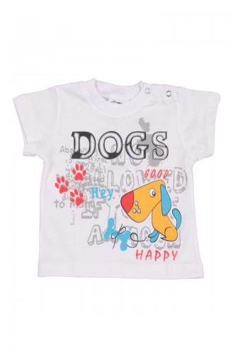 T-shirt a Motifs Dogs SFM116BYZ-01 Blanc 116BYZ