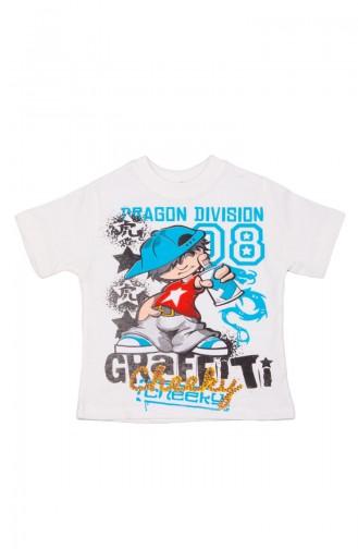 Gemustertes T-Shirt SFM118BYZ-01 Weiß 118BYZ