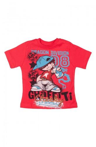 T-shirt a Motifs Graffiti SFM118KRMZ-01 Rouge 118KRMZ