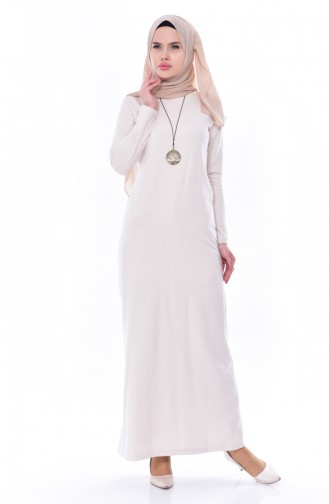 Kolyeli İki İplik Elbise 2779-18 Bej 2779-18