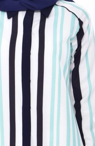 تونيك بتصميم مُخطط 2317-01 لون اخضر 2317-01