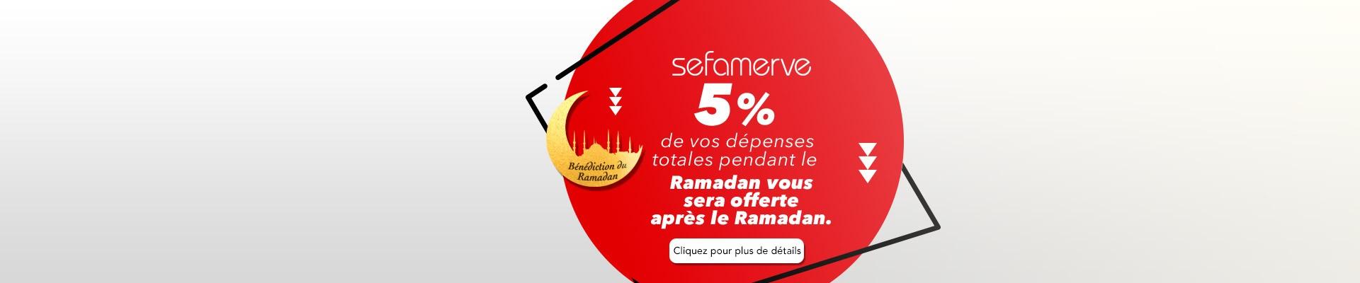 5% de vos dépenses totales pendant le Ramadan vous sera offerte