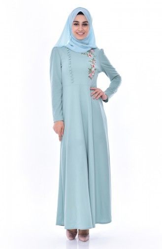 Embroidered Buttoned Dress 8028-11 Open Mint Green 8028-11