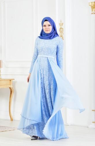 Robe de Soirée a Dentelle et Ceinture 3308-05 Bleu Bébé 3308-05
