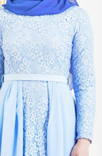 Spitzen Abendkleid mit Gürtel 3308-05 Baby Blau 3308-05
