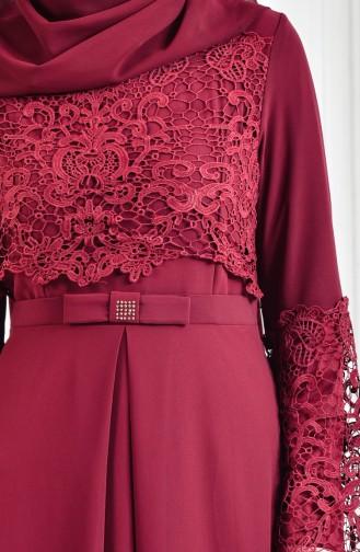 Lace Detailed Evening Dress 52670-08 Bordeaux 52670-08