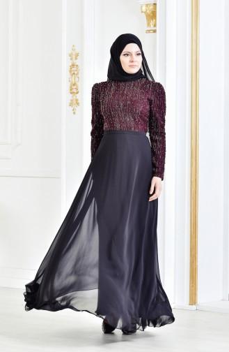 فستان سهرة يتميز بتفاصيل من الؤلؤ 3131-01 لون خمري 3131-01