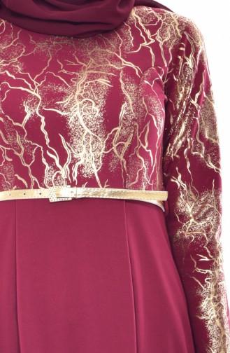 Robe a Ceinture 4464-02 Bordeaux 4464-02
