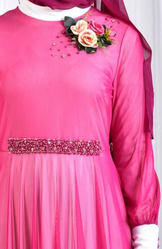 Robe de Soirée Perlées avec Broche 1713167-04 Fushia 1713167-04
