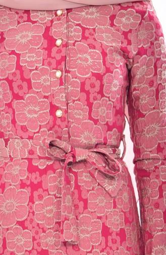 Jakarlı Kuşaklı Elbise 5509-02 Fuşya 5509-02