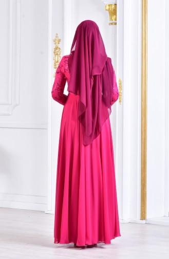 Robe de Soirée Perlées 8134-02 Fushia 8134-02