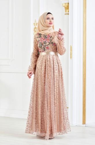 Gold Hijab-Abendkleider 3148-06