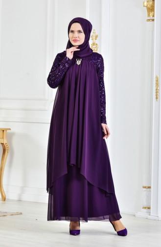 Robe de Soirée Mousseline Détail Broche 52651-10 Pourpre Foncé 52651-10