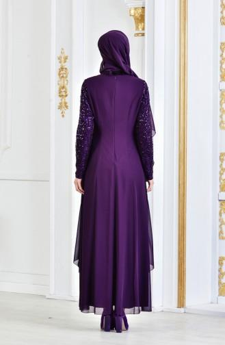فستان سهرة شيفون مُزين ببروش 52651-10 لون بنفسجي داكن 52651-10