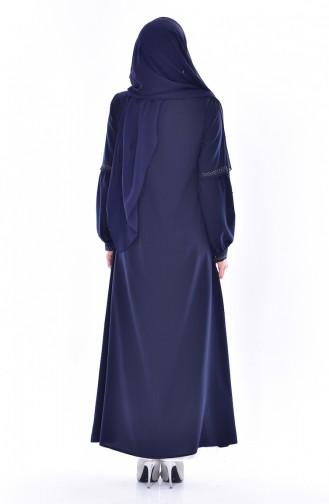 Abaya Bordée 0529-02 Bleu Marine 0529-02