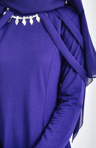 Robe de Soirée avec Collier 4463-06 Bleu Marine 4463-06