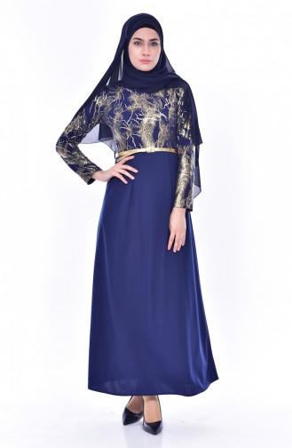 فستان بتصميم حزام للخصر 4464-05 لون كحلي 4464-05