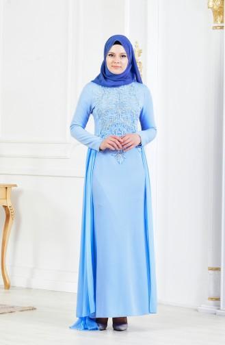 Taş İşlemeli Abiye Elbise 52690-03 Mavi