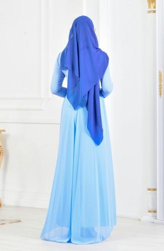 Abendkleid mit Strassstein 52690-03 Blau 52690-03