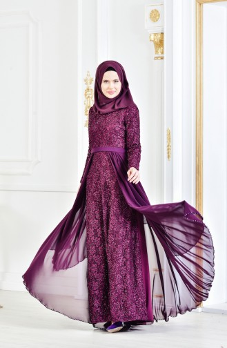 Lace Belted Evening Dress 3308-01 Purple 3308-01