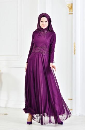 Rhinestone Laced Evening Dress 6131-04 Purple 6131-04