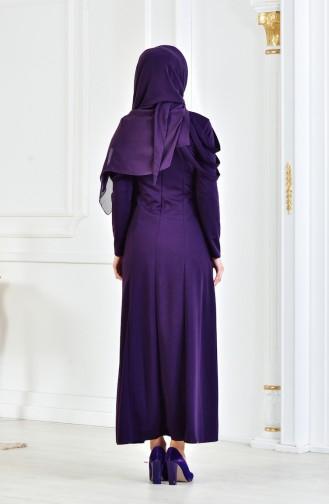 Robe de Soirée avec Collier 4463-04 Pourpre 4463-04