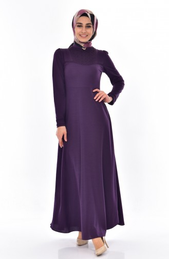 Dantel Detaylı Elbise 0523-01 Mor