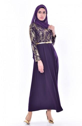 فستان بتصميم حزام للخصر 4464-07 لون بنفسجي 4464-07