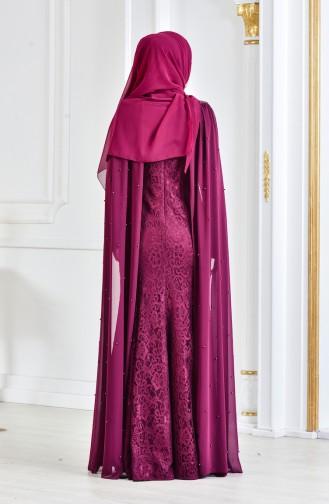İnci Dantel Kaplama Abiye Elbise 3281-02 Mürdüm