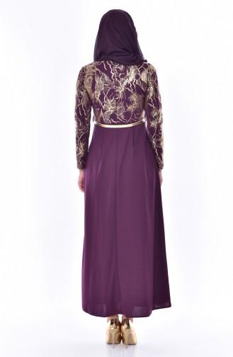 فستان بتصميم حزام للخصر 4464-06 لون ارجواني داكن 4464-06