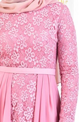 Robe de Soirée a Dentelle et Ceinture 3308-04 Rose 3308-04