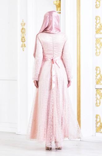 فستان سهرة لامع بتفاصيل مُطرزة 3148-05 لون وردي 3148-05
