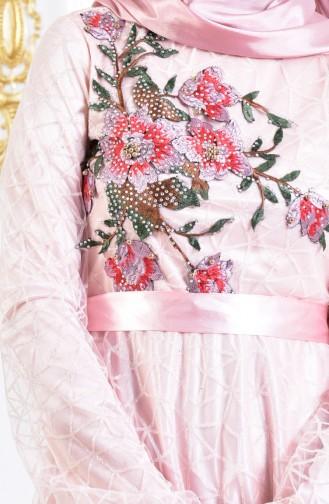 Nakışlı Simli Abiye Elbise 3148-05 Pudra 3148-05