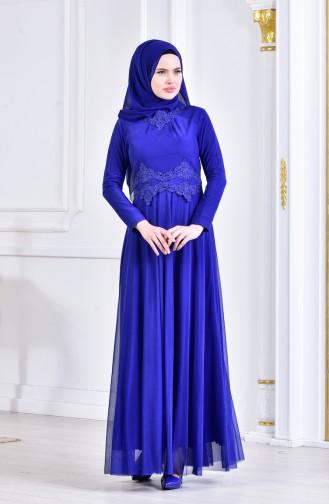 Robe de Soirée avec Pierre 6131-05 Bleu Roi 6131-05